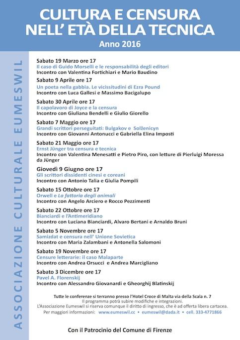Cultura e Censura - Conferenze Associazione Eumeswil 2016
